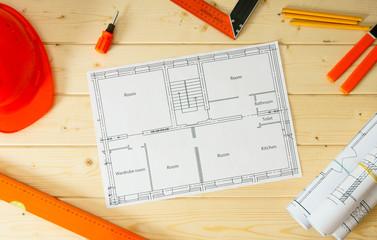Repair work. Drawings for building, helmet, pencils and others