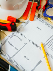 House construction. Drawings for building and many others tools