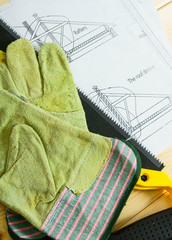 Repair work.. Drawings for building and working tools on wooden