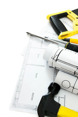 Drawings for building house and working tools.