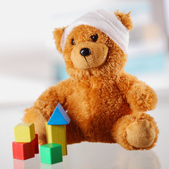 Bandaged Classic Teddy Bear with Various Shapes