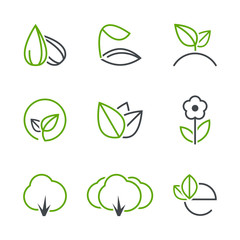 Spring simple vector icon set