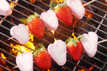 Summer dessert with marshmallow and strawberries