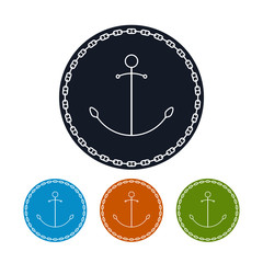 Icon  anchor and chain, vector illustration