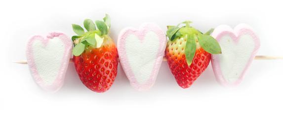 Close up Marshmallow and Strawberry Kebab