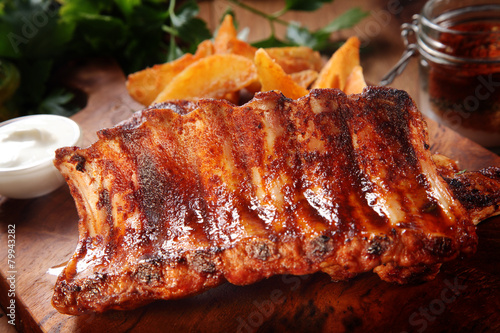 Deurstickers Grill / Barbecue Roasted Pork Rib on Wooden Chopping Board