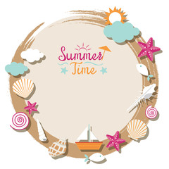 Sea Shell and Summer Objects Icons Wreath