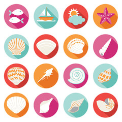 Sea Shell Flat and Summer Icons Set