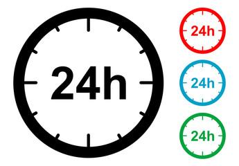 Pictograma 24 horas en varios colores