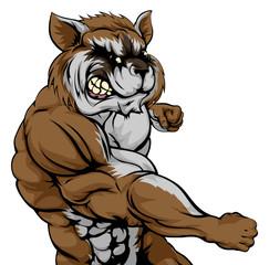 Punching raccoon mascot
