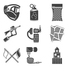 Paintball equipment black vector icons