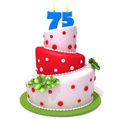 Birthday cake with number seventy five