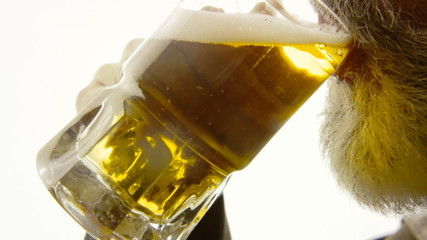 Beer silhouette beard close-up appetite
