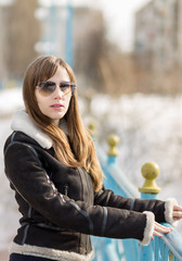 Young beatiful woman wear leather jacket