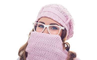 Freezing young woman