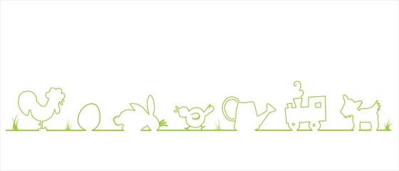 Easter Bannner border childlike cute Ostern Borte kindlich