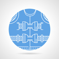 Round blue vector icon for lifejacket