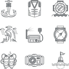 Snorkeling black line vector icons