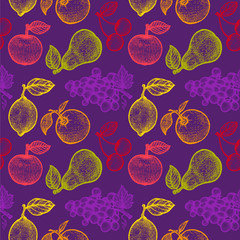retro fruits pattern