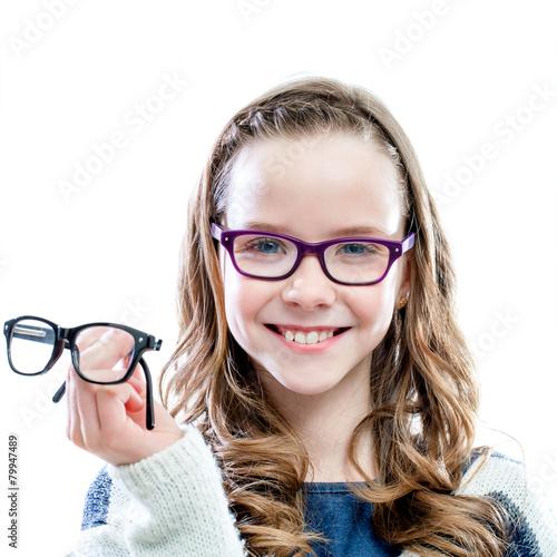 Girl holding glasses in hand. - 79947489