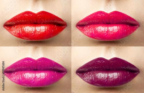 Póster Hermosos labios de vino colección de colores, fucsia, rosa, rojo