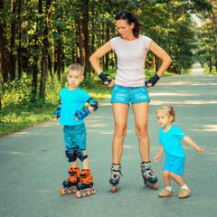 family having fun on roller skates.