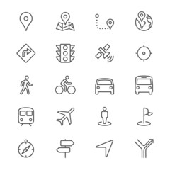 Navigation thin icons