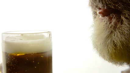 Beer silhouette beard close-up crave
