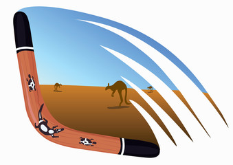 Boomerang on wing, vector illustration
