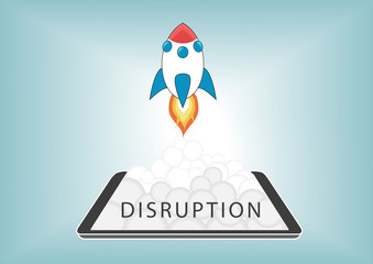 New Digital Disruption business model concept with rocket