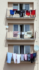 clothes drying on the balcony,