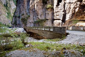 Мост через горную реку в ущелье. Абхазия