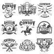 Set of vintage cowboy emblems