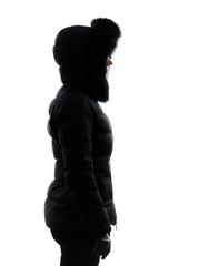woman winter coat standing profile silhouette