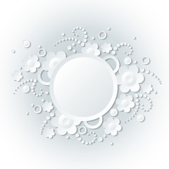 Floral white background with monochromatic flowers.
