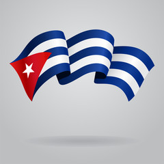 Cuban waving Flag. Vector illustration