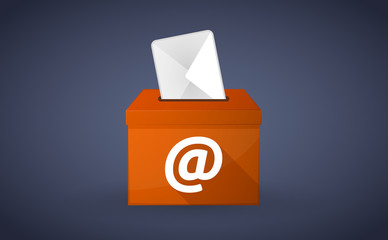 "Orange ballot box with an ""at"" sign"