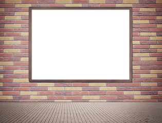 Black wooden frame with copy space hanging on grey brick wall