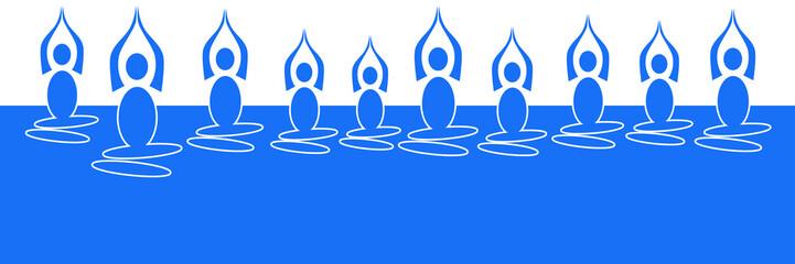 Yoga Pose Blue Horizontal