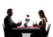 couples lovers dating dinner hungry silhouettes