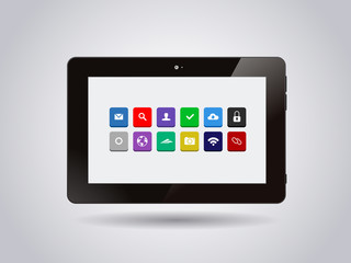 Realistic glossy tablet PC Isolated with apps icons.