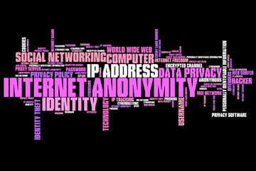 Online anonymity - words concept