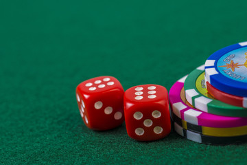 Macro of poker chips and dice