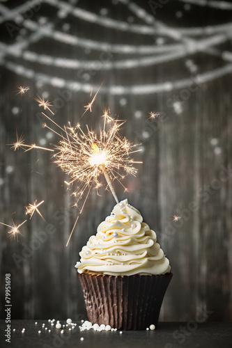 Poster Koekjes Cupcake with sparkler