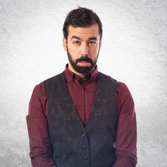 Sad man wearing waistcoat