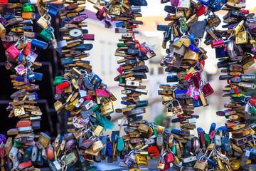 padlocks locked luck on a metal fence, Prague Czech Republic