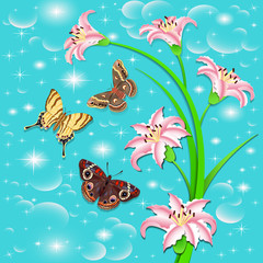 background with butterflies and flowers pink lilies