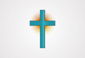 Sun cross church logo vector