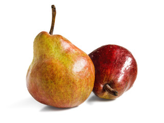 Two ripe pears on a white background.