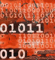 Grungy data stream on peeling, orange surface